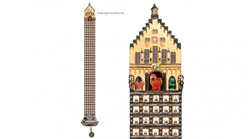 Die Hochhaus-Kuckucksuhr als Sinnbild der beschaulichen Metropole. (Größe: ca. 1